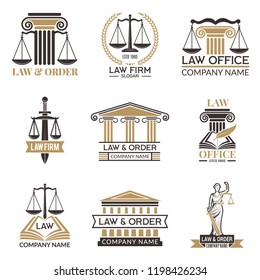 Badges of law and legal. Hammer of judge, legal code black illustrations of labels for jurisprudence. Legal notes vector pictures. Justice and lawyer, court and authority