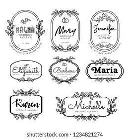 Badges logo template for wedding planner in line art style