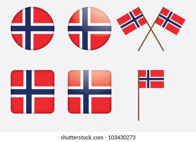 badges with Norwegian flag vector illustration