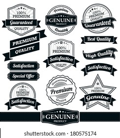 Badges and Ribbons Vector Set