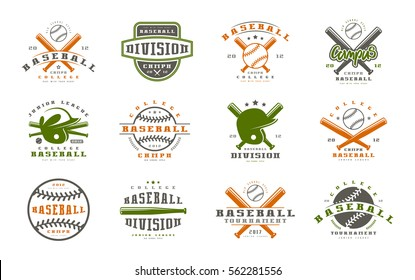 Badges set of baseball team. Graphic design for t-shirt. Color print on white background