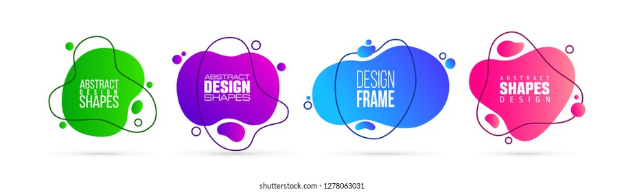 badges set vector graphic elements. Modern stylish abstract frame, organic fluid shape. creative design for banner and business cards, invitations, gift cards, brochures of leaflets