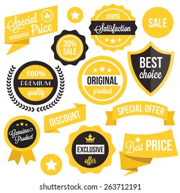 Badges, stickers, ribbons and insignias set. Black and yellow colors. Isolated on white background.
