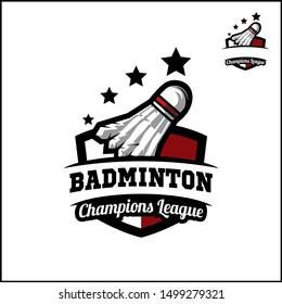 Badminton badge champions league logo vector