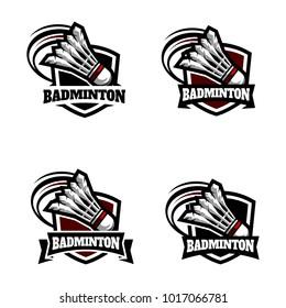 Badminton Badge Logo Set
