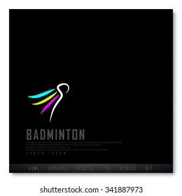 Badminton Black Freehand Sketch Graphic Design Vector Illustration EPS10