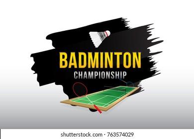 Badminton championship badge design.