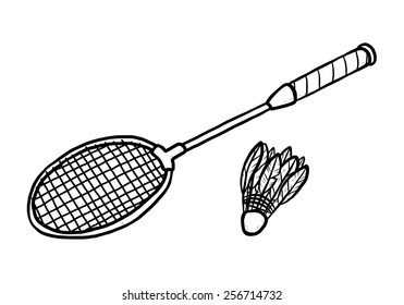 Badminton Equipment Cartoon Vector And Illustration Black White Hand Drawn Sketch