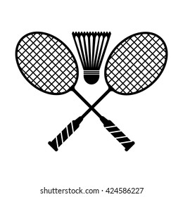 Badminton icon. Simple black vector symbol. Logo for web. Image for business.