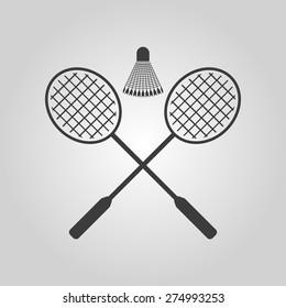 The badminton icon. Sport symbol. Flat Vector illustration