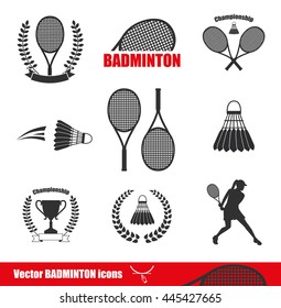Badminton Icons. Vector illustration of logos of shuttlecock with badminton racket, winner cup and woman with racket .