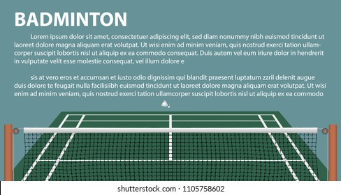 Badminton layout template for brochure or pages. Vector. illustration 3D.