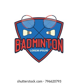 badminton logo with text space for your slogan / tag line, vector illustration