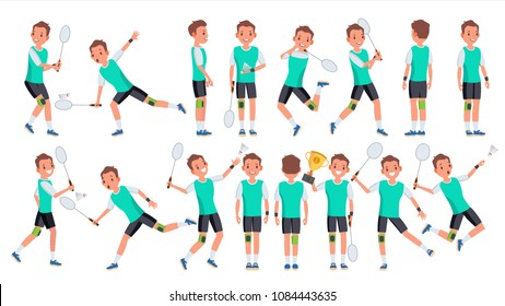 Badminton Man Player Male Vector. Athlete In Uniform. Jumping, Practicing. Cartoon Athlete Character Illustration