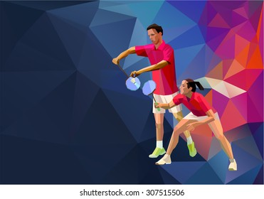 Badminton mixed doubles team, man and woman start badminton game, vector sports illustration poster or banner in polygonal triangles design style