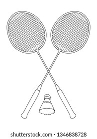 Badminton outline drawing. Two rackets for the sports game badminton and shuttlecock.