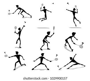 badminton player activity silhouette cartoon set design illustration