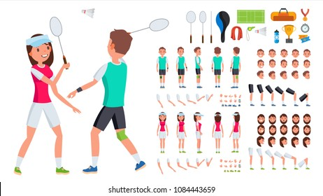 Badminton Player Male, Female Vector. Animated Character Creation Set. Man, Woman Full Length, Front, Side, Back View. Badminton Accessories. Poses, Emotions, Gestures. Flat Cartoon Illustration