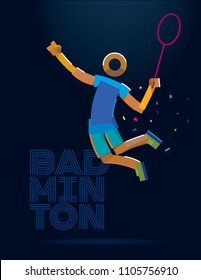 Badminton player. Vector color line pictogram