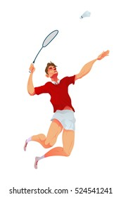 Badminton player, Vector illustration.