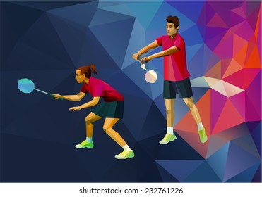 Badminton players mixed doubles team, man and woman start badminton game, vector badminton serve
