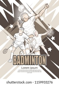 badminton poster design. hand drawn vector of badminton players
