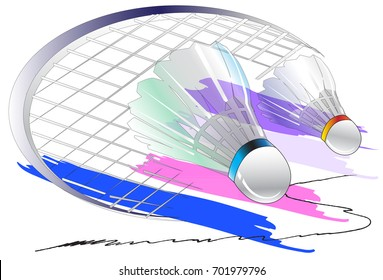 Badminton racket art and brush