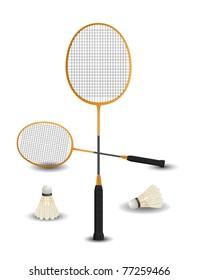 Badminton racket with birdies eps8