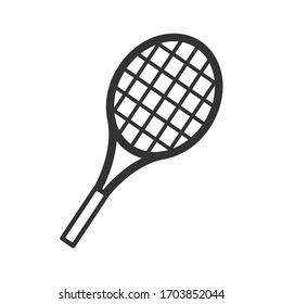 Badminton racket in a flat style. Vector line icon isolated on white background. Sports logo concept. Activity design template for website, mobile app, print. Vector stock illustration.