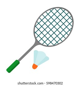 badminton racket icon. Flat vector cartoon illustration. Objects isolated on a white background.