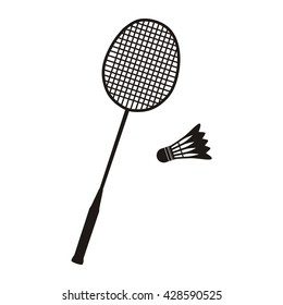 Badminton racket and shuttlecocks icon in black on white. Sport vector illustration