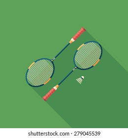 Badminton rackets flat square icon with long shadows.