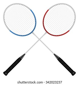 Badminton rackets on a white background.