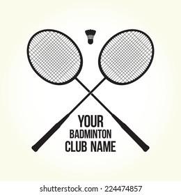 """Badminton rackets"" vector silhouette club logo"