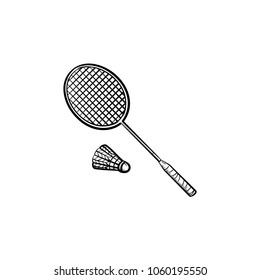 Badminton racquet and shuttlecock hand drawn outline doodle icon. Racquet and shuttlecock for badminton vector sketch illustration for print, web, mobile and infographics isolated on white background.