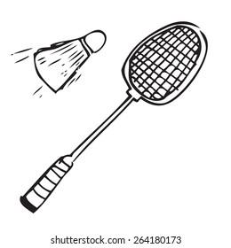 Badminton Set Doodle