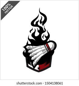 Badminton shuttlecock ball flame badge logo vector