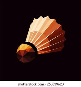 Badminton shuttlecock or badminton ball. Polygonal geometric badminton shuttlecock. Vector illustration