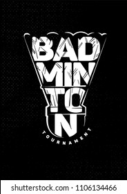 Badminton shuttlecock. Lettering black and white emblem