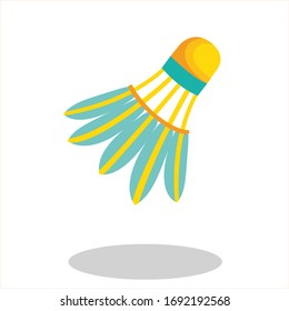 Badminton shuttlecock. Shuttlecock on a white background with shadow.
