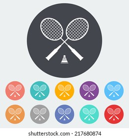 Badminton. Single flat icon on the circle. Vector illustration.