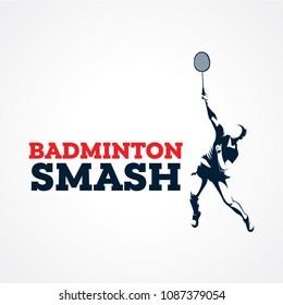 Badminton Smash Silhouette Logo Designs Template