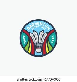 Badminton sport circle logo vector