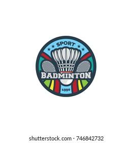 Badminton sport logo & circle background vector