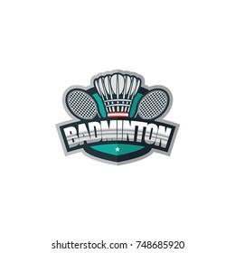 Badminton sport logo element vector