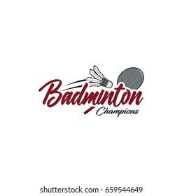 Badminton sport logo typography vector