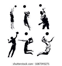 Badminton Sport Silhouette Set