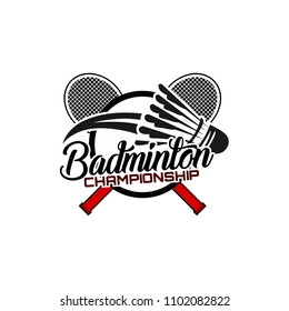 Badminton team design logo emblem template. Abstract sport badge vector illustration