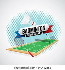 Badminton tournament badge design with racket and shuttlecocks.