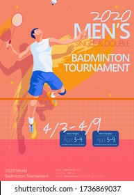 Badminton tournament poster template, side view of male character doing jump smash in flat style